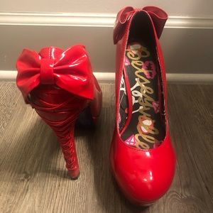 7.5 red patent high heels